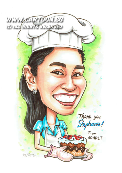 CartoonSG Singapore Caricature Artists For Gifts Amp EventsColleague As Baker Caricature Gift