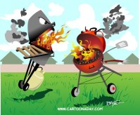 Backyard Smackdown:Propane Vs Charcoal Cartoon