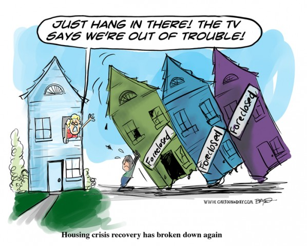 Cartoon on housing crisis in the USA