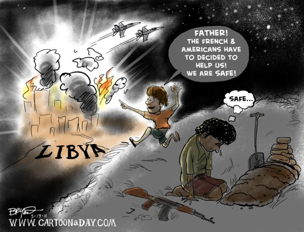 Libya war, cartoon