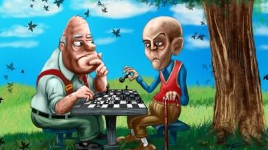 Cartoon Chess In the Park Painting Cartoon