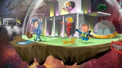 Family of the FutureRetro Futurism Illustration Cartoon