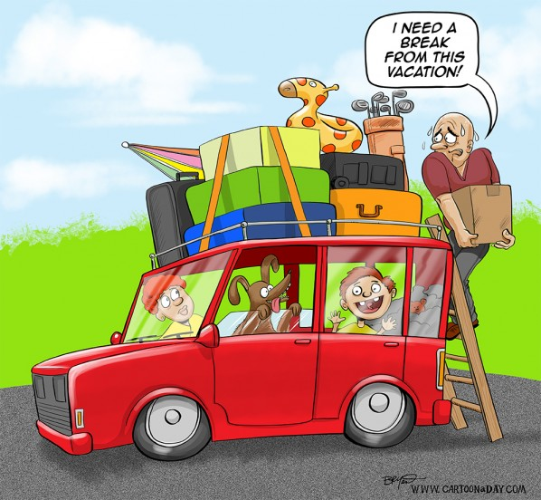 Exhausting Summer Vacation Color Cartoon Cartoon A Day