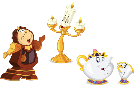 Image result for COGSWORTH, LUMIERE, MRS. POTTS, & CHIP FROM BEAUTY AND THE BEAST