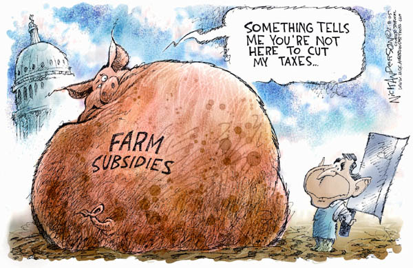 Why will the rich and powerful give up this easy money?  |  Cartoonist - Nick Anderson; on 2005-02-08; source & courtesy - cartoonistgroup.com  |  Click for larger source image.