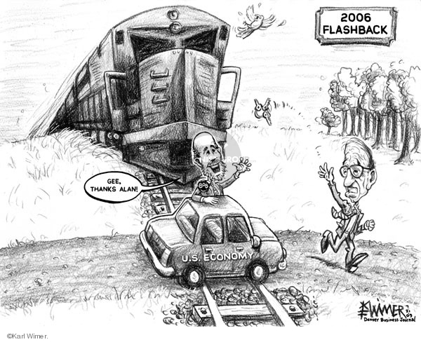 Economy seemed to smooth, then. (Cartoonist - Karl Wimer; Pub. Date - 2009-07-31; source and courtesy - cartoonistgroup.com). Click for larger image.