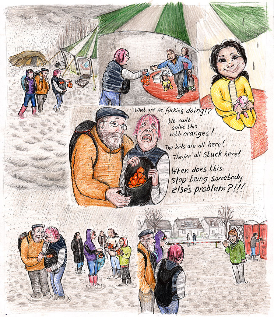 Kate Evans Cartoon of Dunkirk Refugee Camp