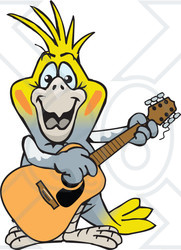 Clipart of a Happy Cockatiel Bird Playing an Acoustic