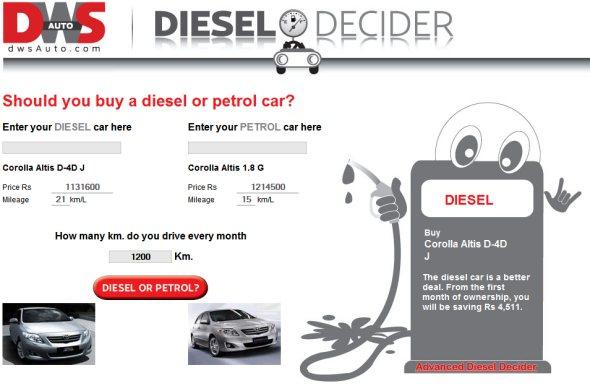 diesel decider helps you decide bwteen petrol and diesel cars