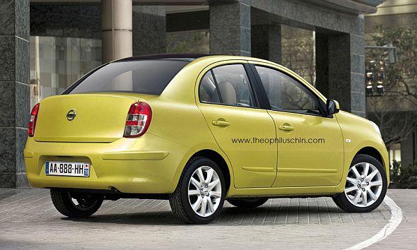 Nissan Micra Compact Sedan Rear Render Pic