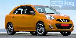 Nissan Micra based compact sedan render orange