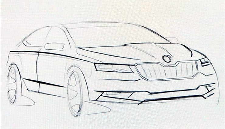 Sketch of 2016 Skoda Superb luxury saloon released