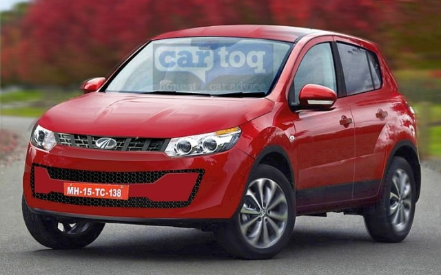 2015 Mahindra S101 Compact SUV Speculative Render in Red Image