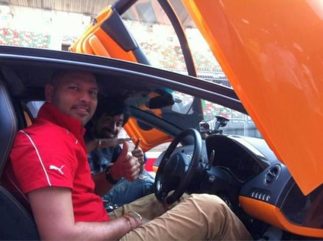 Yuvraj Singh with his Orange Lamborghini Murcielago 2