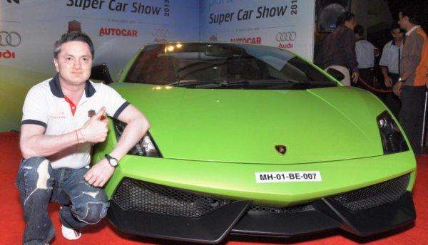 Gautam Singhania with his Lamborghini Aventador