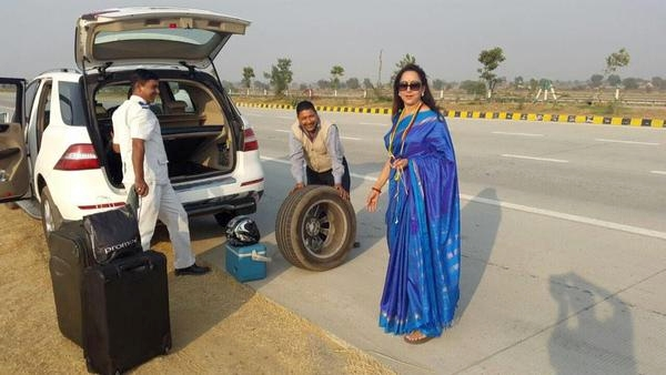 Hema Malini in her Mercedes Benz ML Class