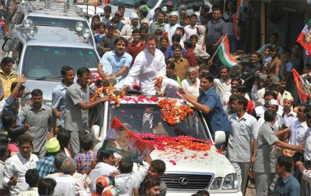 Rahul Gandhi in his Lexus LX470