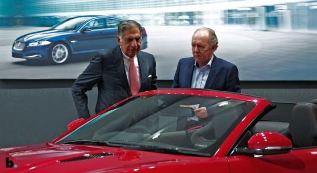 Ratan Tata with a Jaguar F-Type