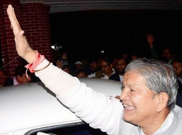 Harish Rawat with his Hindustan Ambassador