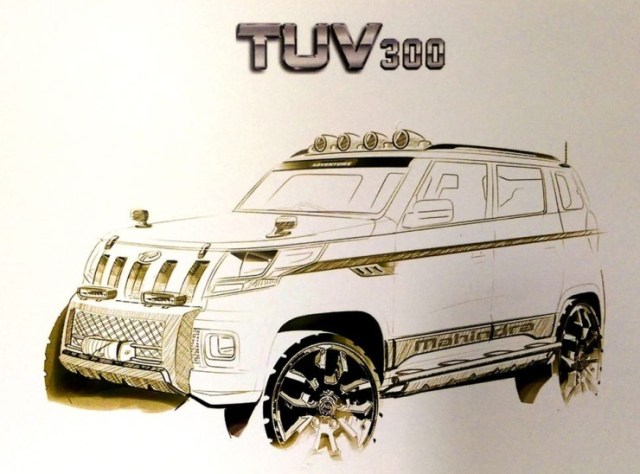 Mahindra TUV300 Compact SUV Sketch 1
