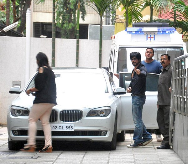 Shahrukh Khan with his BMW 7-Series 740 Li