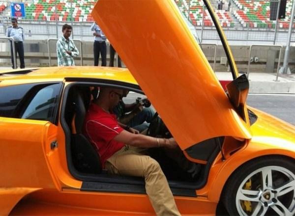 Yuvraj Singh in his Lamborghini Murcielago
