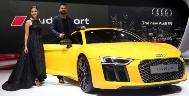 Virat Kohli with the Audi R8 at the Auto Expo