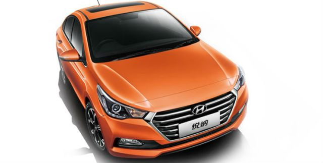 Chinese-spec-2017-Hyundai-Verna-front-three-quarters-elevated-view
