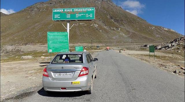 Maruti Dzire on Himalayan roads