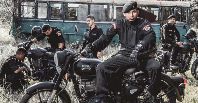 NSG Commandos on the Royal Enfield Stealth Black 500