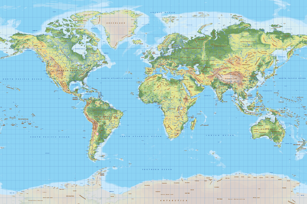 Topographic Map Of World