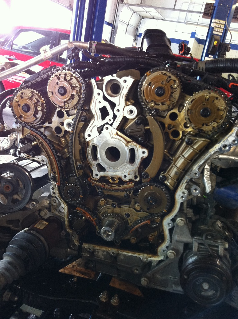 hight resolution of chevy traverse engine removed replacing timing chains