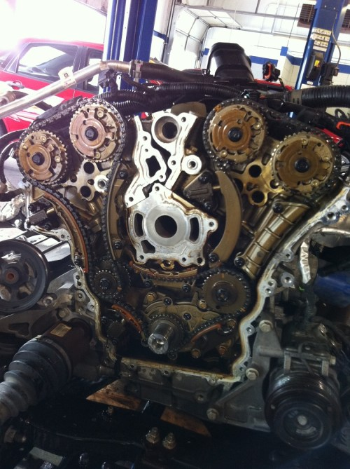 small resolution of chevy traverse engine removed replacing timing chains