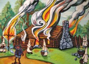 "Dave Dexter ""Looting of Uncle Remus's Cabin March 5, 1770"" detail"