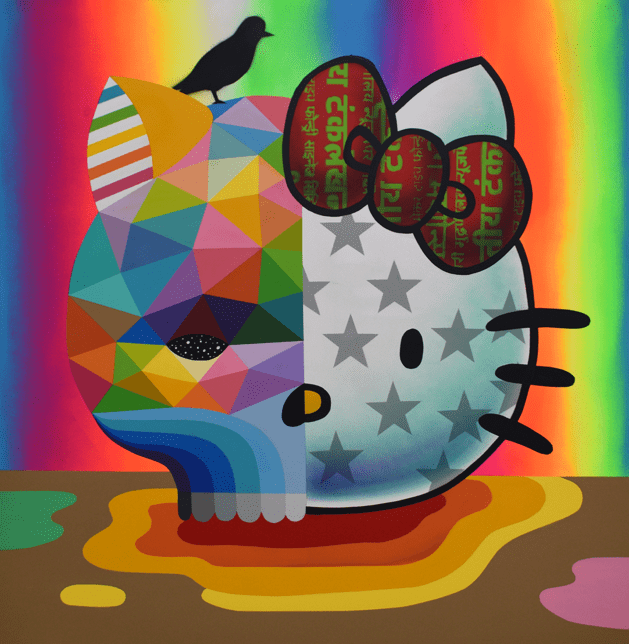 'Hello Kitty Skull' by Okuda San Miguel for the Hello Kitty 45th Anniversary Group Art Show