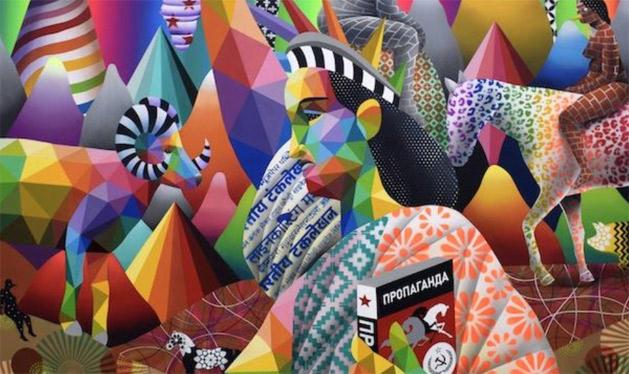 Okuda, BOREAL REVOLUTION, 2018 - 3 Punts Galeria in the European Pavilion at the LA Art Show 2020