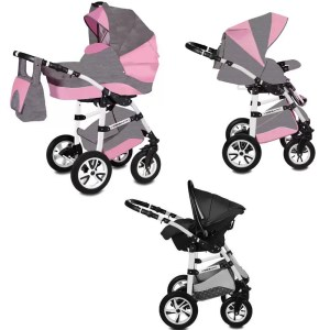 Carucior Flamingo Easy Drive Vessanti 3 in 1 Gray - Pink