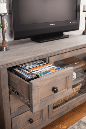Organized-media-room-DVD-drawer