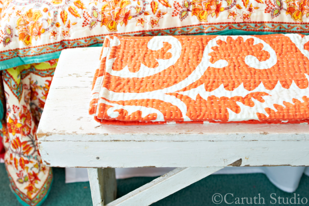 Kantha-throw-on-bench