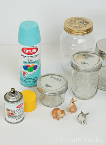 Spray paint jar lids and bunny figures