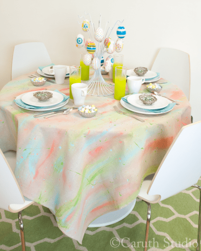 Watercolor tablecloth on table