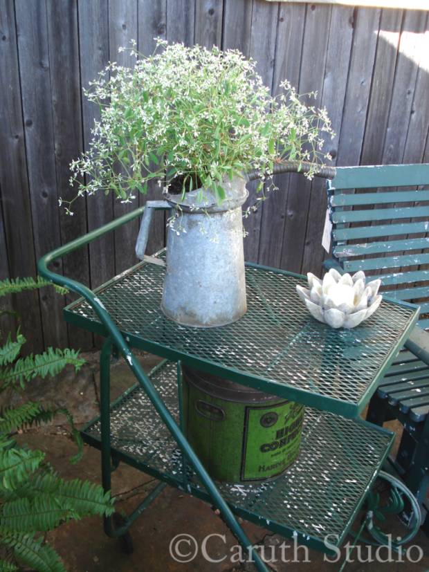 Planted vintage gas can