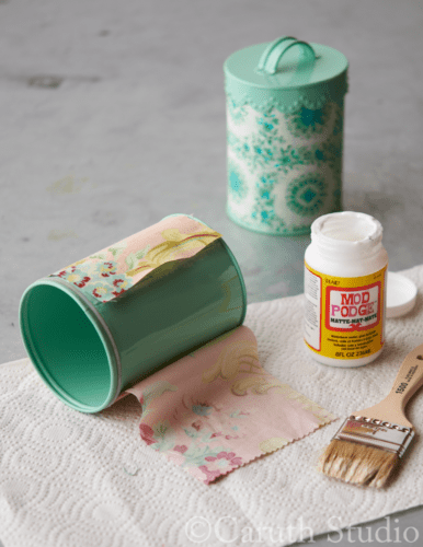 Covering-canister-with-fabric-scraps
