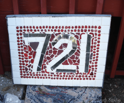 Mosaic address plaque