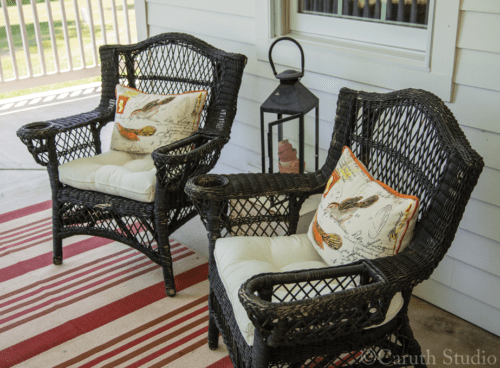 Pair of wicker porch chairs
