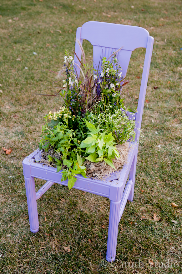 Finished chair planter