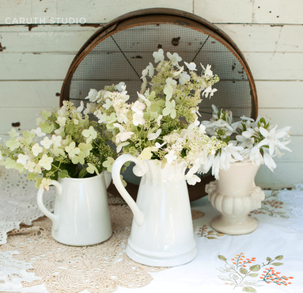 White flowers in vintage vignette