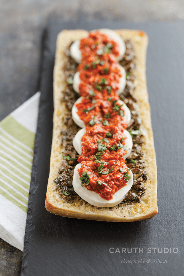 Bruschetta with tempenade and mozzarella