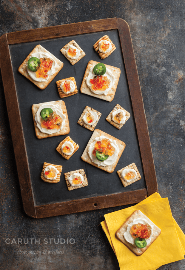 Hot Pepper Jelly on Crackers