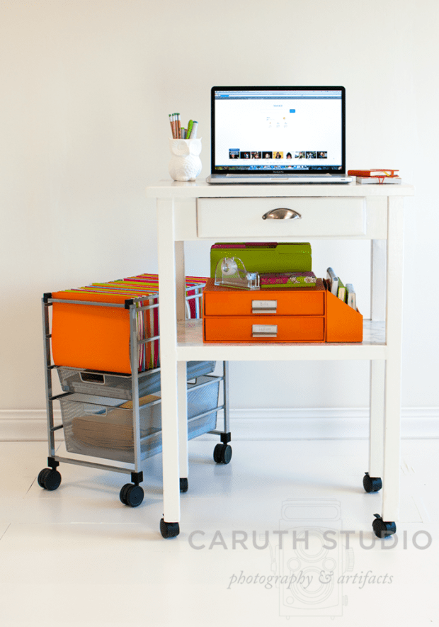 Mobile office with rolling filing cabinet and desk